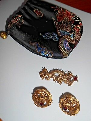 Vintage Designer Unsigned Gold Dragon with Red Stone Pin & Earrings