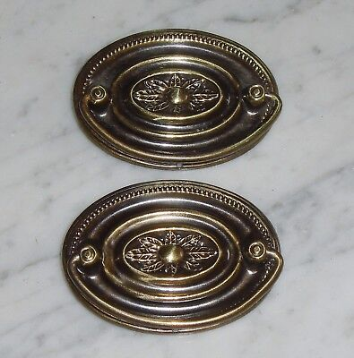 2 Vintage Decorative Oval Bail Knocker Cabinet Door Drawer Pulls