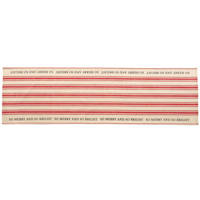 New Mud Pie Holiday Grainsack Table Runner MERRY &  BRIGHT Red Stripes 78 x 21
