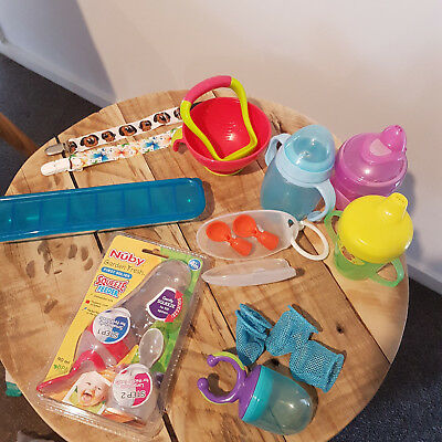 Baby Weaning First Food Bundle Qubies Nuby Squeezie Pouch Re-Usable Sippy Cups