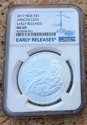 2017 Niue African Lion 1oz Silver Coin Early Releases Graded MS69 By NGC.