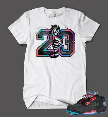 23 Graphic Tee shirt To match AIR JORDAN 5 WHITE CEMENT Shoe Custom Pro Club Tee