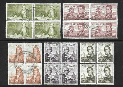Australia Decimal 1966 'Navigators ' 5 blocks of 4, very fine used (20 stamps)