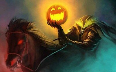 Horseman Pumpkin Halloween Party Home Wall Decor Oil Painting Printed on Canvas