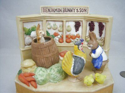 Schmid Beatrix Potter Bunny and Son's Grocery Store Animated Music Box C Video