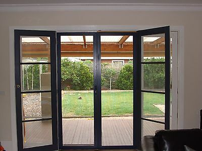 Retractable Fly Screen Doors - Double Unit 2400mmH x 3000mmW - BLACK - EASY DIY!