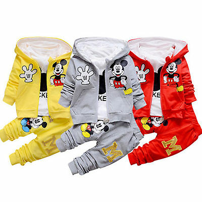 Mickey Mouse Kids Baby Boys Girls Hooded Jacket+T shirt+Pants Outfit Set Clothes