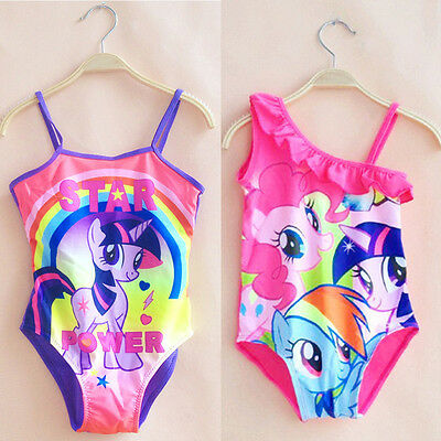 Kid Girls Cartoon My Little Pony One-Piece Swimwear Swimming Costume Tankini Set