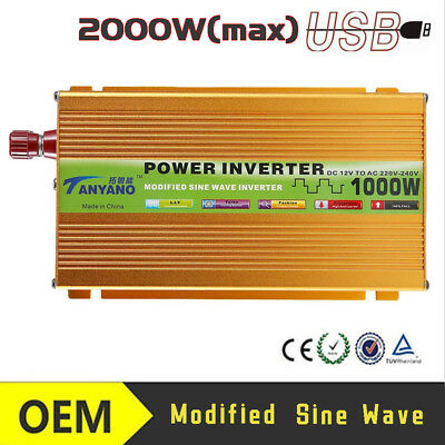 Pure sine wave power inverter 1000 Watt 12V DC to AC 220V voltage converter M