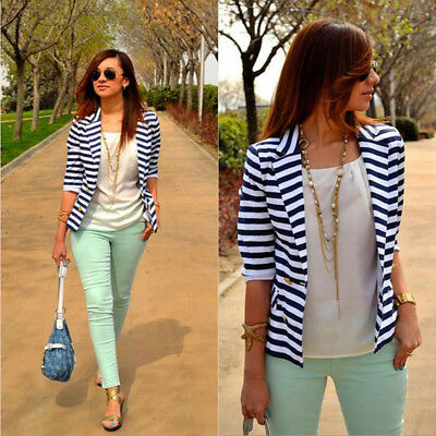 New Women's Fashion Stripe Slim Casual Business Blazer Suit Jacket Coat Outwear