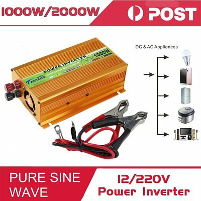 Peak 2000W Pure Sine Wave Power Inverter DC 12V to AC 220V Car Converter USB L