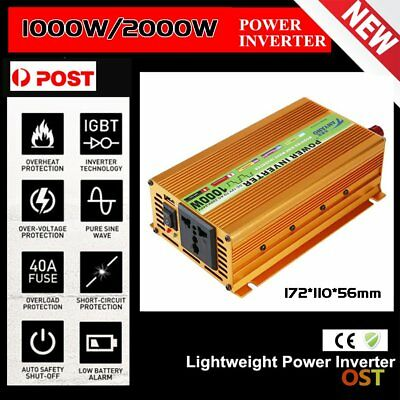 PRO Peak 2000W Pure Sine Wave Power Inverter DC 12V to AC 220V Car Converter L