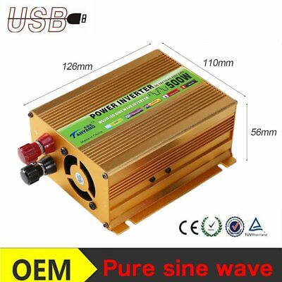 Pure sine wave power inverter 500 Watt 12V DC to AC 220 Volt voltage converter L