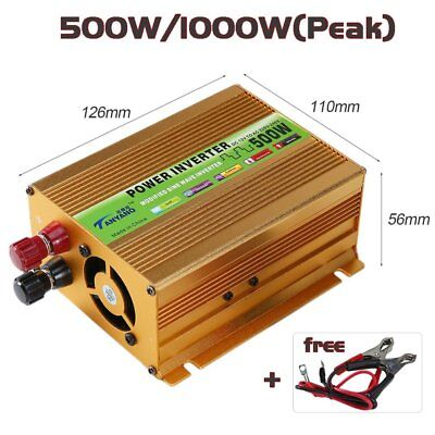 Peak 1000W Pure Sine Wave Power Inverter DC 12V to AC 220V Car Converter USB L