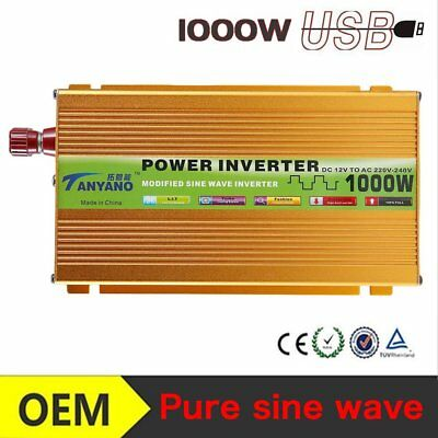 Pure sine wave power inverter 1000 Watt 12V DC to AC 220V voltage converter _