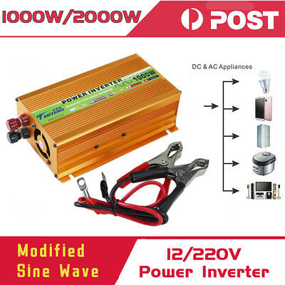 Peak 2000W Pure Sine Wave Power Inverter DC 12V to AC 220V Car Converter USB _