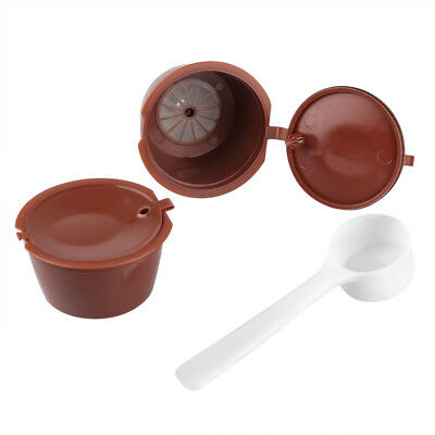2x Refillable Reusable Coffee Capsule Pods Cup for Nescafe Dolce Gusto + Spoon