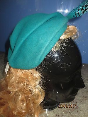 Vintage 50s turquoise felt hat topper cocktail feather rhinestones Betmar