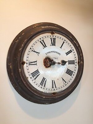 "Large Synchronome Industrial Factory Wall Clock 18"" Diameter, Barnsley Traction"