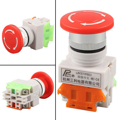 Red Rotary Emergency Stop Switch Push Button Mushroom Safe Pushbutton LAY37-11ZS