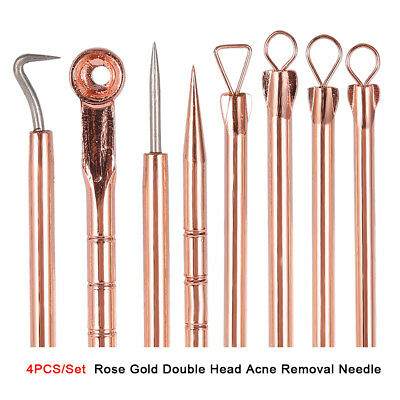 4x Double-end Stainless Steel Acne Blackhead Removal Needle Pin Pimple Extractor