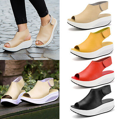 Hot Women Wedge Peep Toe Ankle Strap Platform Summer Slingback Sandals Shoes