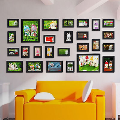 Modern Black 26 Pcs Wall Hanging Picture Photo Frame Display Set Home Decor