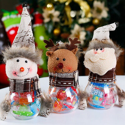 Christmas Candy Jar Santa Claus/Snowman/Reindeer Sugar Lolly Biscuits Canister