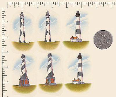 "6  x Waterslide ceramic decals Approx. 1 1/2"" x 2 3/4""Light-house Sea beach PD1"