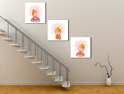 CP Print Oil Painting Happy Buddha 3 Panels Wall Art Abstract on Canvas Decor