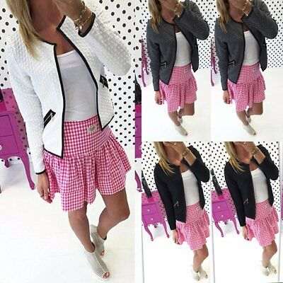 Women Casual Long Sleeve Jacket Zip Up Ladies Cardigan Blazer Outwear Coat Tops