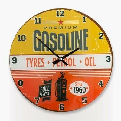 Shabby Chic Wall Clock Vintage  Style Round Glass 'GASOLINE' Home Decor NEW Gift