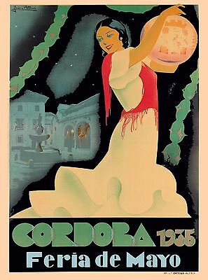 1935 Cordoba Spain Feria de Mayo Spanish Vintage Travel Advertisement Poster