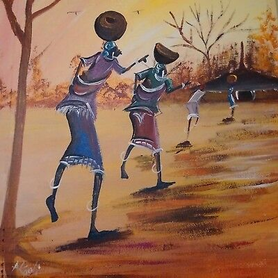 Traditional African hand-painted Art. Oil Painting on Canvas, Signed FRAMED
