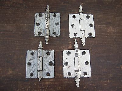 "Vintage Cast Iron Door Hinges Steeple Pin Tip 3"" x 3"" Lot of 4 for Parts"