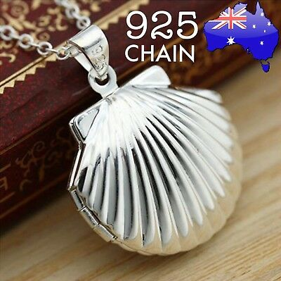 925 Sterling Silver Chain Photo Seashell Locket Mermaid Pendant Necklace Gift