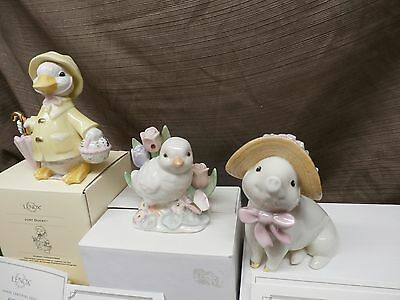 Lenox LOT Just Ducky Sadie's Sunday Best Pig, Garden Chick Easter 24kt trim NEW
