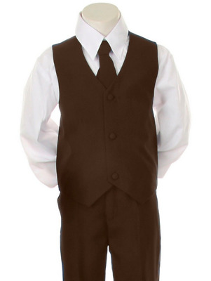Infant Toddler Kid Formal Wedding Tuxedo Brown Boy Suit 4pc Set size 5 used