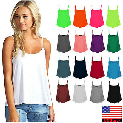 Lady Cami Sleeveless Strappy Casual Vest Solid Flared Tank Women Tops Plus Size