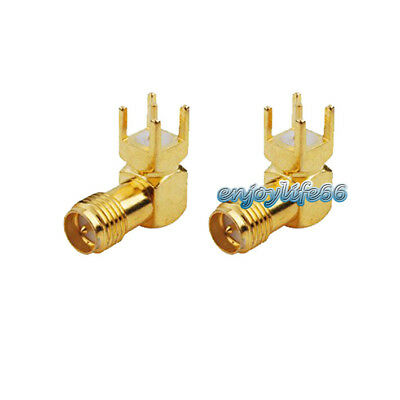 2PCS RP SMA Female Male Pin Plug Right Angle Solder PCB Mount Gold RF Connector