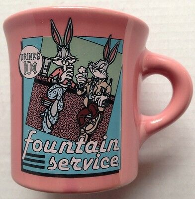 1994 Bugs Bunny Soda Fountain Warner Brothers Coffee Mug, Homer Laughlin, Hlc