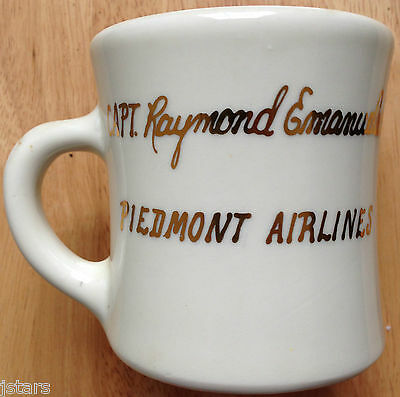 c. 1970s - 1980s PIEDMONT AIRLINES, CAPT. RAYMOND EMANUELSON COFFEE MUG, VINTAGE