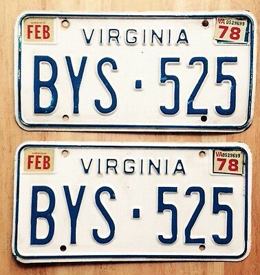 1977 1978 Virginia License Plates Matched Set, Flat White Plate, Low Number
