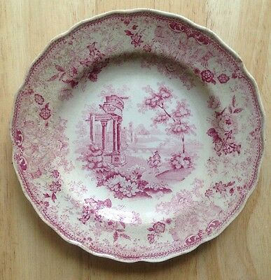 """1830s 1840s MINTON RED AND WHITE CLASSICAL TRANSFER PLATE, 6-3/4"""" MOREA PATTERN"""