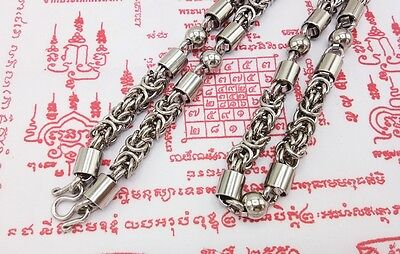 "30"" Necklace Thai Style 1 Hook Buddhist Amulet Pendant Stainless Steel Gift 9.5M"