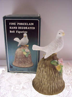 PORCELAIN BISQUE BELL White Dove on Bark NIB *FREE USA SHIPPING
