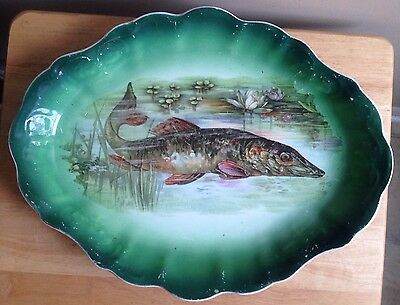 1910s - 1920s MUSKELLUNGE IMPERIAL PORCELAIN WARRANTED FISH PLATTER, WATER LILY