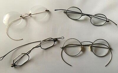 Antique Wire Rim Reading Eye Glasses Bifocals Lot Of 4 W/ Cases Round OvalSquare