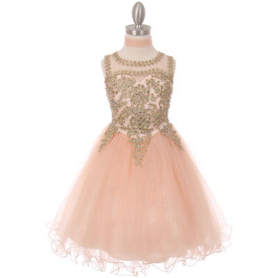 BLUSH Flower Girl Dress Recital Gradutaion Wedding Pageant Dance Prom Birthday