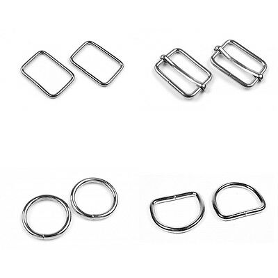 Metal Webbing Strap Fitting Buckle D Ring O Ring Clip Slider 20 25 30 35 & 50mm